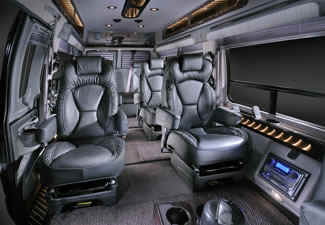 Our Rolling Worke Van Provides Individual Corporate Jet Like Seating With Task Lighting And An Audio Visual Presentation Entertainment System